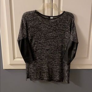 H&M black sweater with pleather sleeves